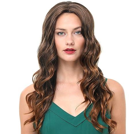 Pelucas largas para mujer 24 pulgadas Ombre Marrón y peluca de cabello sintética color rubio 180