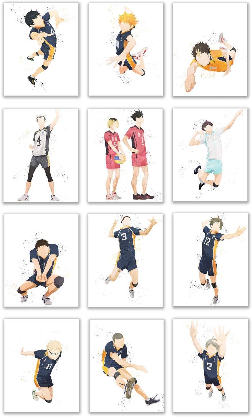 Watercolor Haikyuu!! Prints - Set of 12 (8x10 Inches) Glossy Anime Wall Art Decor - Hinata - Kageyama - Nishinoya - Oikawa - Tsukishima - Kuroo - Kozume - Suga - Tanaka - Yamaguchi - Bokuto - Asahi -