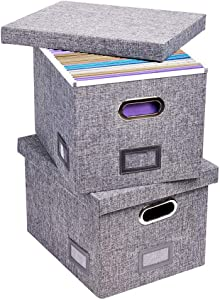 Superjare Updated File Box for Hanging Files, Set of 2, Storage Office Box with 60 lbs Weight Capacity, Durable MDF Board & Linen Fabric, File Storage Organizer for Letter/Legal - Grey