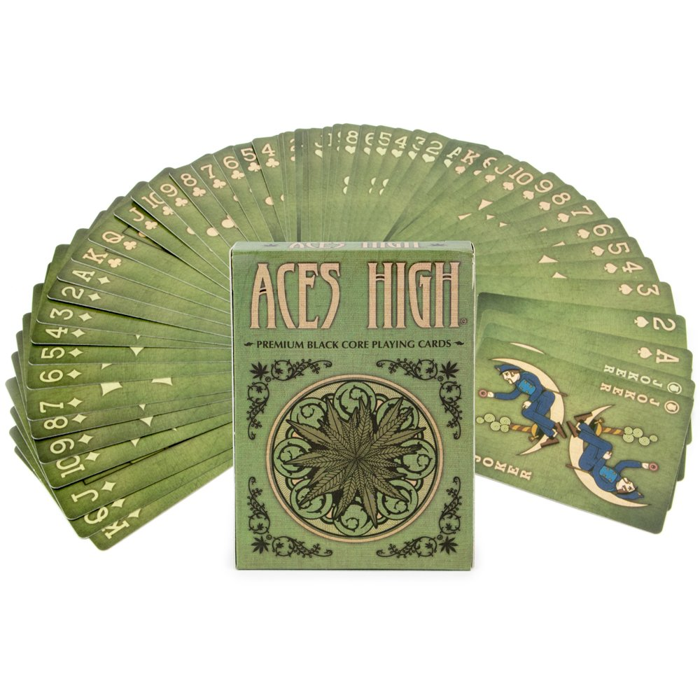 Amazon Com Aces High Premium Green Playing Cards Black Core