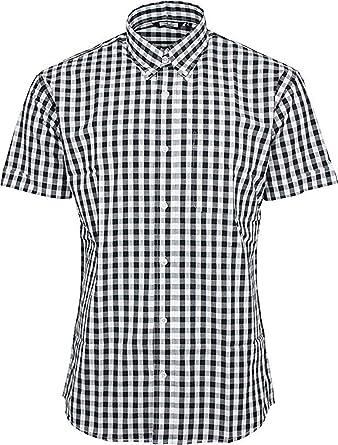 Relco Hombre Cuadros 9Mm Camisa Manga Corta Mod Skin Retro Indie - Black & Blanco, L: Amazon.es: Ropa y accesorios