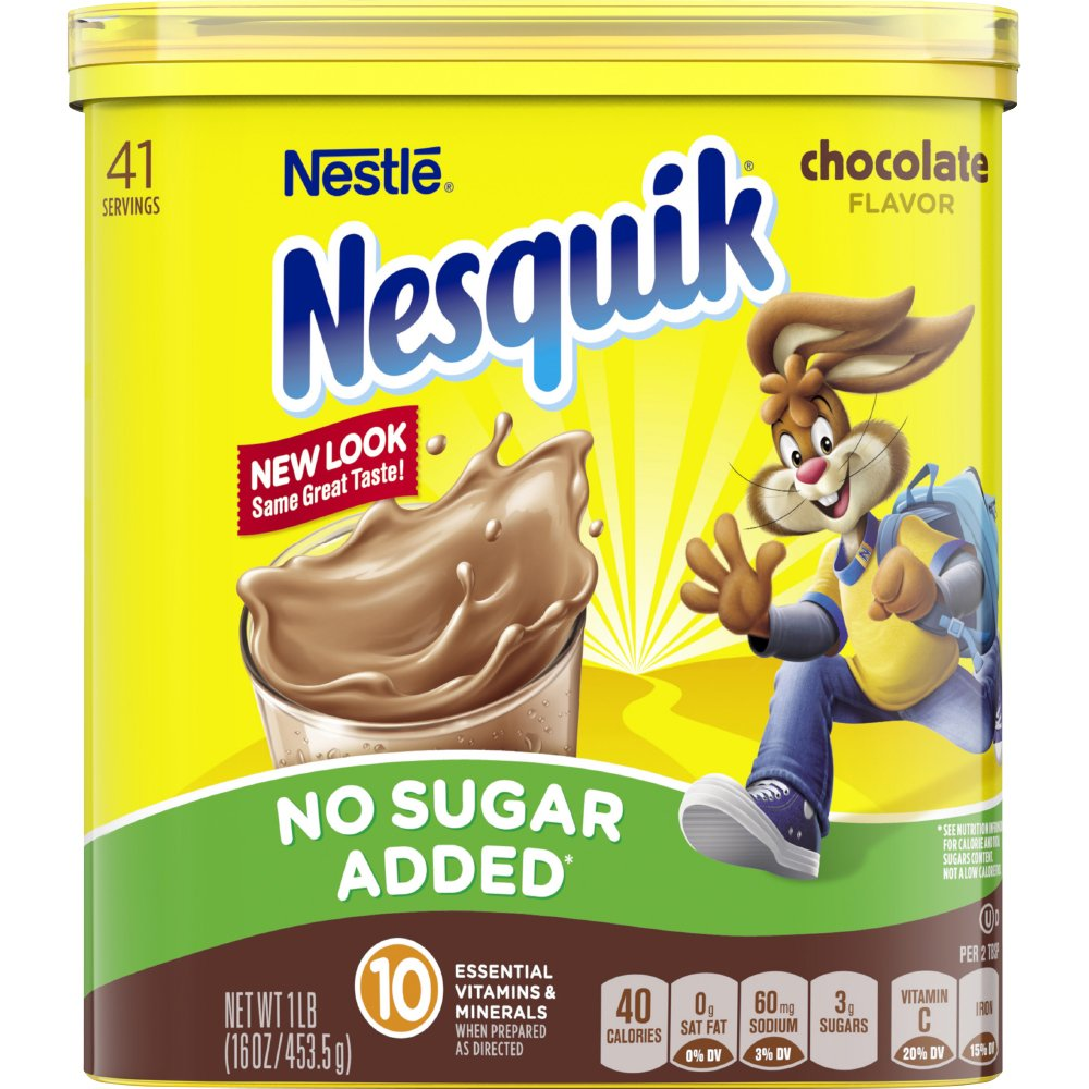 Nesquik Chocolate Powder, No Sugar Added, 16-Ounce Unit (Pack Of 6)