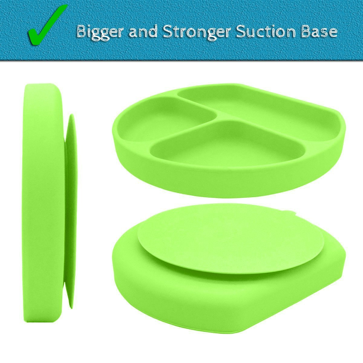 SiliKong Silicone Suction Plate for Toddlers, Fits Most Highchair Trays, BPA Free, Divided Baby Feeding Bowls Dishes for Kids (Green) by SiliKong (Image #2)
