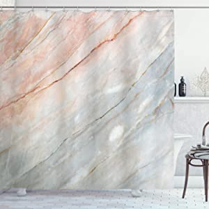 "Ambesonne Marble Shower Curtain, Onyx Stone Textured Natural Featured Scratches Illustration, Cloth Fabric Bathroom Decor Set with Hooks, 84"" Long Extra, Peach Grey"
