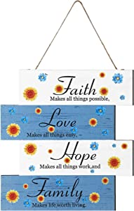 Jetec Wooden Sign Faith Love Hope Family Hanging Wall Rustic Daisy Inspirational Wall Art Signs Farmhouse Home Sign Wall Decor for Bedroom, Living Room, Wall, Door Decor