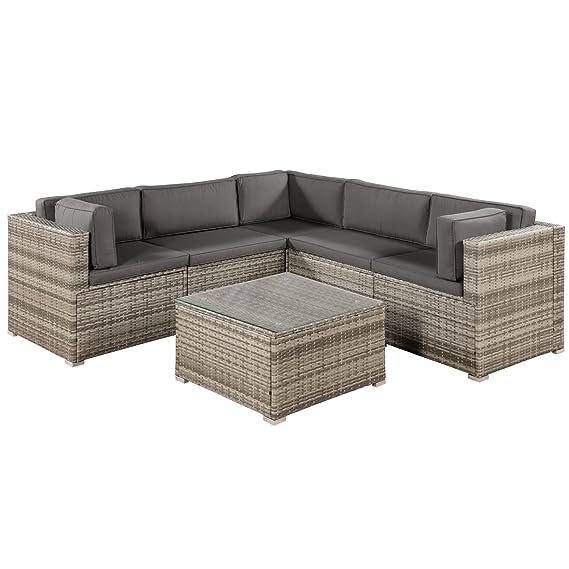 Polyrattan Lounge Sitzgruppe Nassau beige-grau mit Bezügen