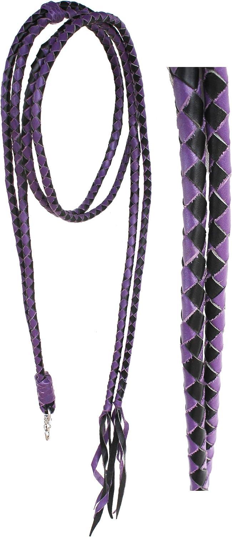 PRORIDER Horse Horse Western Purple Leather Round Braided Roper Reins 6652