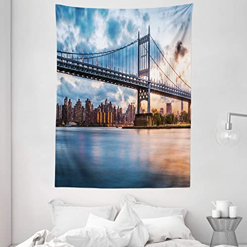 Ambesonne New York City Tapestry, Kennedy Triboro Bridge in Queens New York Manhattan River Scenery, Wall Hanging for Bedroom Living Room Dorm, 60 X 80 , Orange Peach