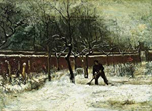 FAN C. Van Gogh - The Parsonage Garden at Nuenen in The Snow Canvas Wall Art Rolled 55X40 cm (Approx. 22X16 inch) - Landscape Paintings Reproductions Prints