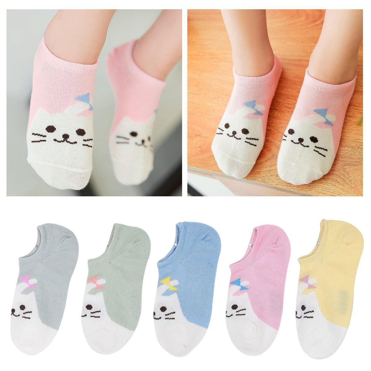 Kidstree Fashion Girls Socks Cotton Thin Toddler Crew Sock 5 Pairs Cat Large (6-8)