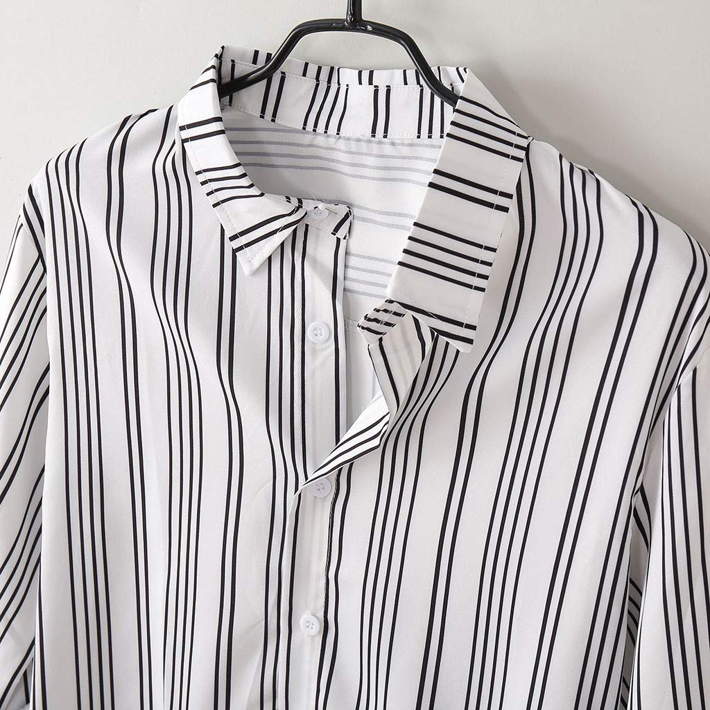 Mens Summer Beachwear Fashion Casual Lapel Striped Print Long Sleeve Blouse Slim Fit Shirt XQXCL Mens Blouse