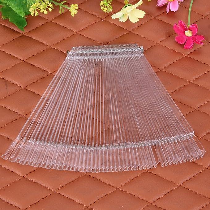 Gowind6 - Juego de 50 palos de uñas postizas, diseño de ventilador para practicar salón (transparente): Amazon.es: Belleza