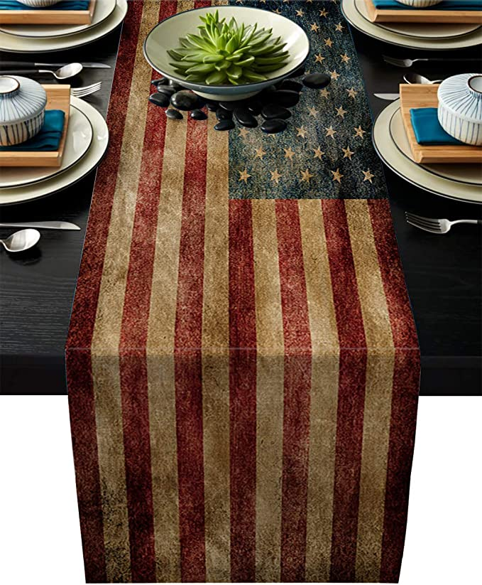 Greeeen Linen Burlap Table Runner Us Flag Kitchen Table Runners For Family Dinner Banquet Parties And Celebrations Vintage American Flag Table Decor 14 X 72 Inch Home Kitchen Amazon Com
