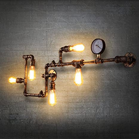 Homili 5 Heads Loft Industrial Iron Rust Water Pipe Retro