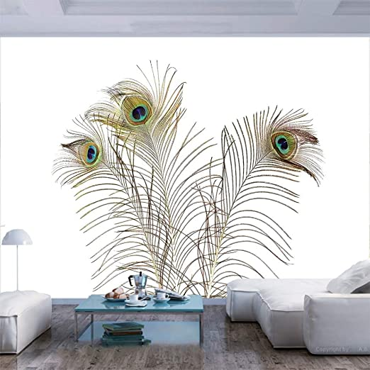 Amazon Com 55x30 Inches Wall Mural Peacock Feathers Closeup Simple Picture Minimalistic Design Stylish Home Artwork Peel And Stick Self Adhesive Wallpaper Removable Large Wall Sticker Wall Decor For Home Office Home Kitchen