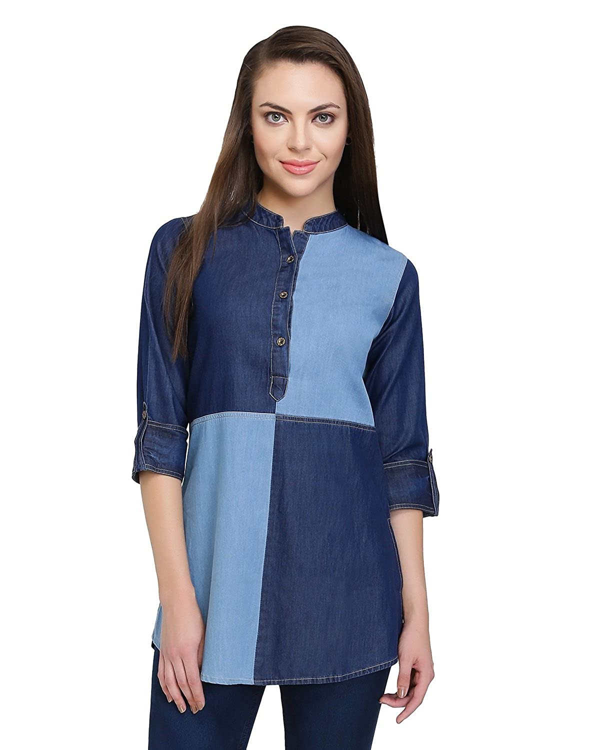 d0629c02ed Denim Short Kurti for Women - Casual Office wear - Short Kurtis for Ladies  - Denim Top for Jeans - Designer Kurtis  Amazon.in  Clothing   Accessories
