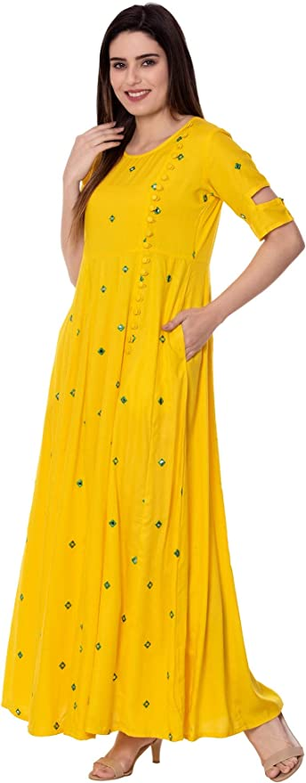 Yellow Arayna Womens Round Neck Embroidered Rayon Summer Casual Swing Dress Gown Flared Skirt with Pockets