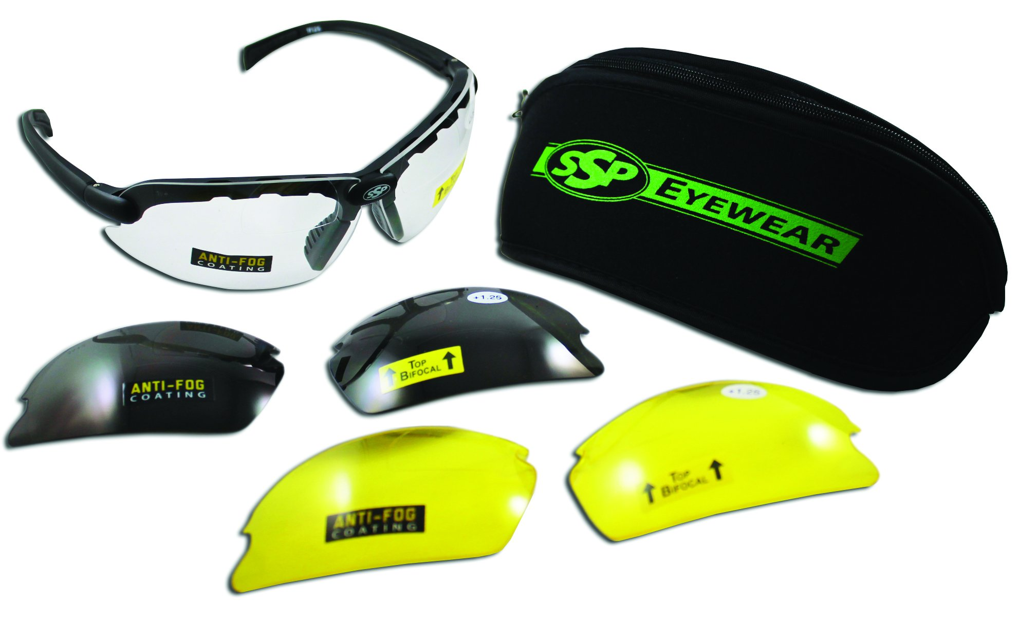 SSP Eyewear Top Focal Tactical Safety Glasses Kit with Assorted Interchangeable 1.50 Bifocal Lenses,TF 1.50 AST KIT by SSP Eyewear