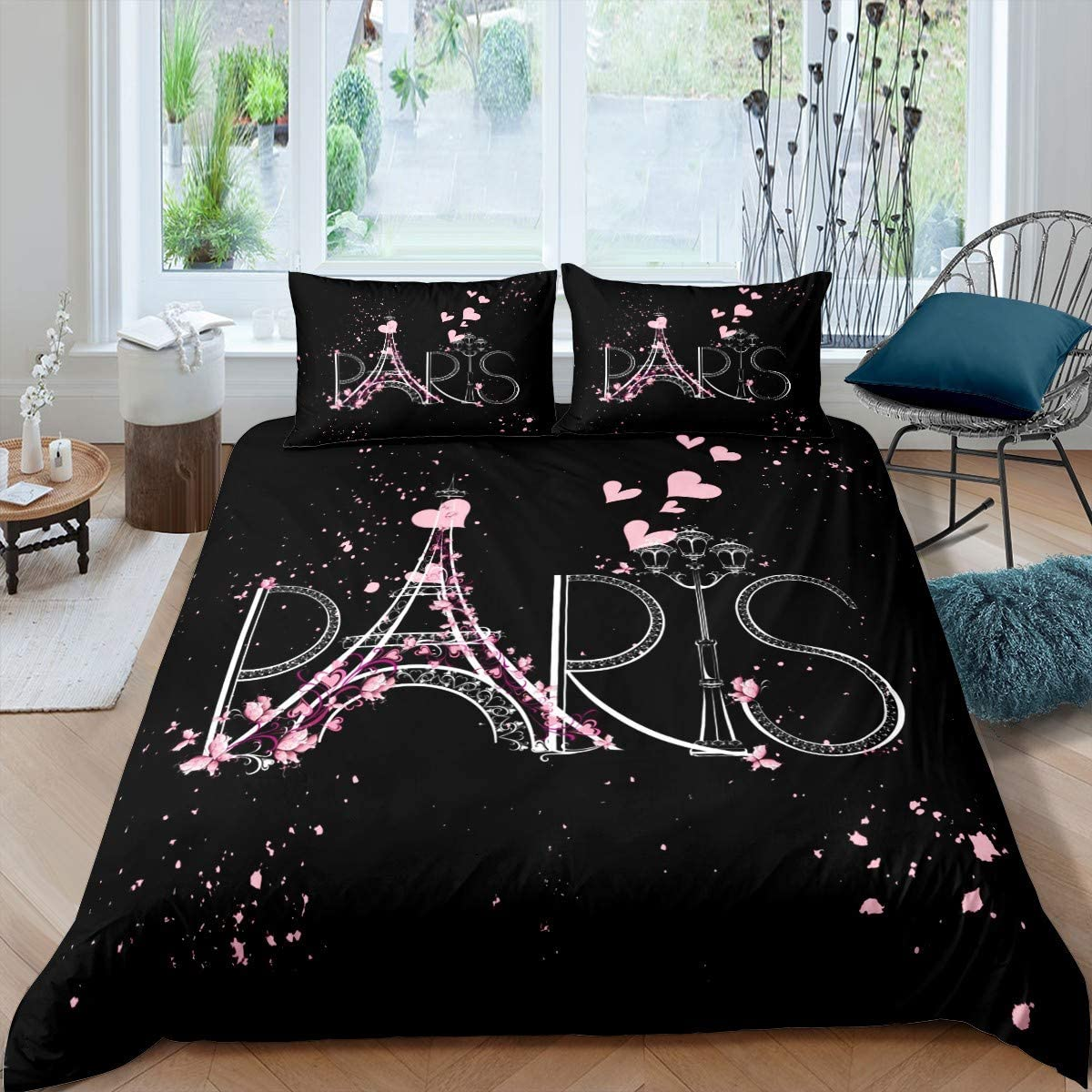 Eiffel Tower Duvet Cover Chic Paris Bedding Set Romantic Theme Comforter Cover for Boys Girls Children Teens Black Pink Bedroom Decor Modern French Style Bedspread Cover Twin Size with 1 Pillow Case