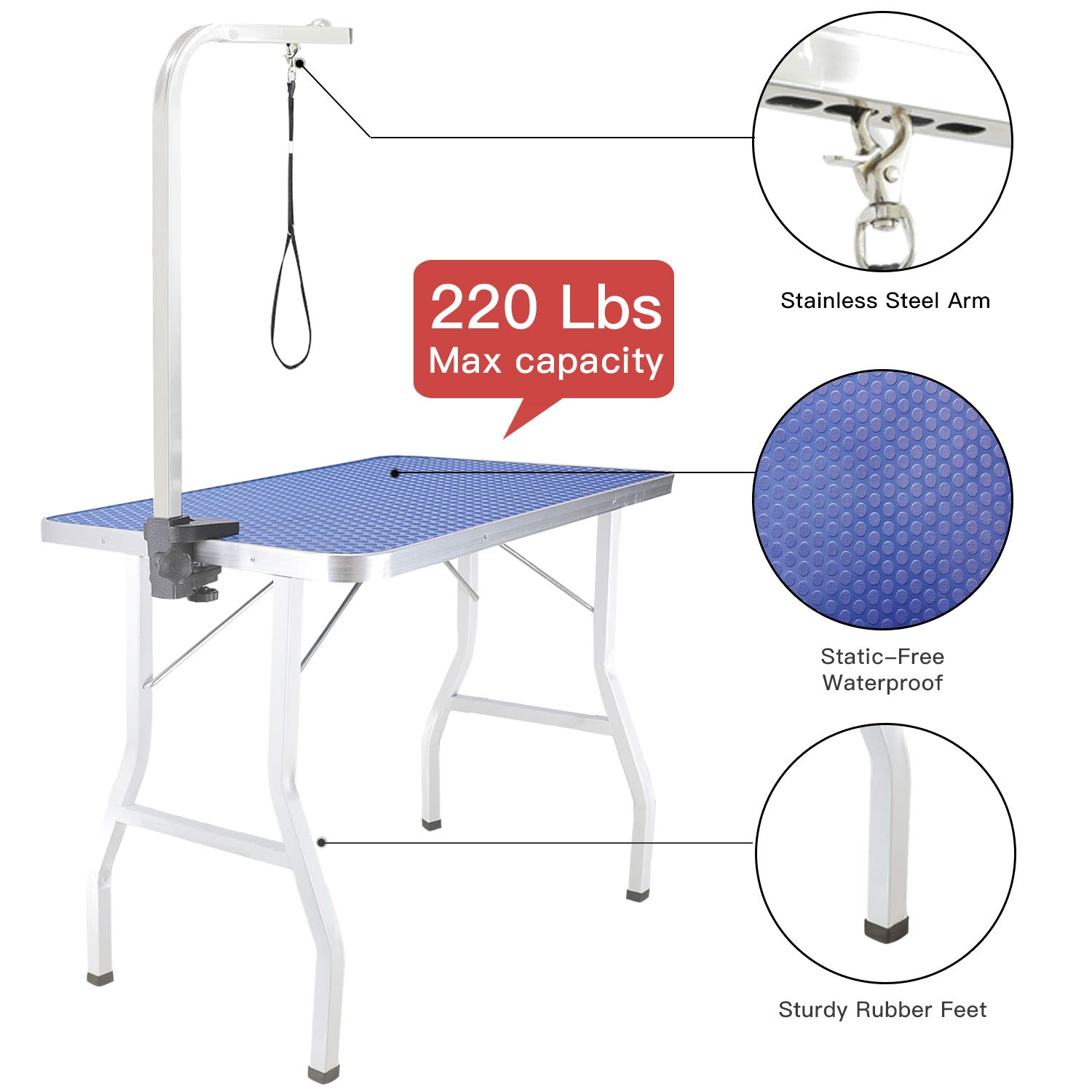 ITORI Pet Dog Grooming Table for Small Dog, Professional 32 in Foldable Portable Drying Table with Adjustable Height Arm&Noose, Maximum Capacity Up to 250lbs by ITORI