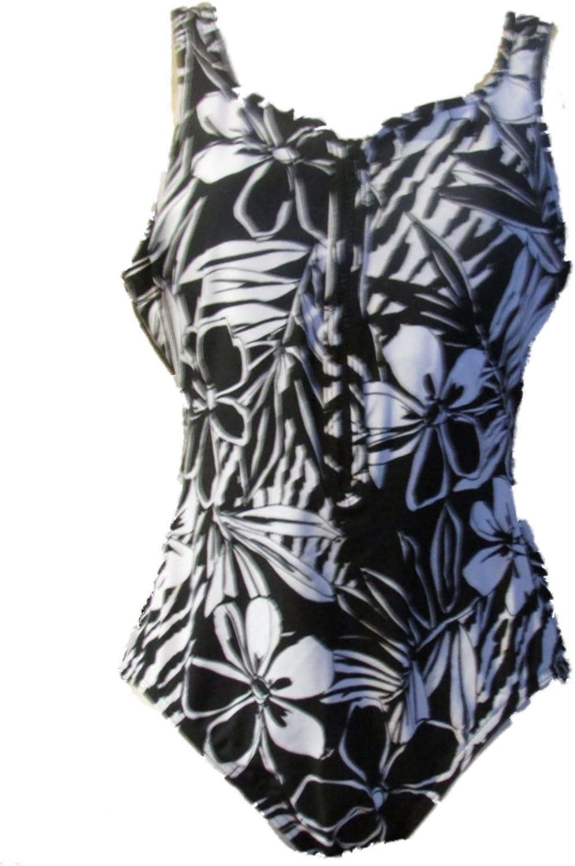 Miraclesuit Women's One Piece Swimsuit Zipper Front Floral Black