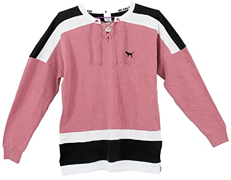Victoria's Secret PINK Lace-Up Varsity Crew sweatshirt, Begonia ...