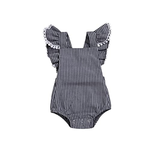 f83791ae0cb33 Viworld Baby Girl Romper Ruffles Bodysuit Lace Sleeveless Jumpsuit Grey  Playsuit Outfit Clothes (Dot Lace