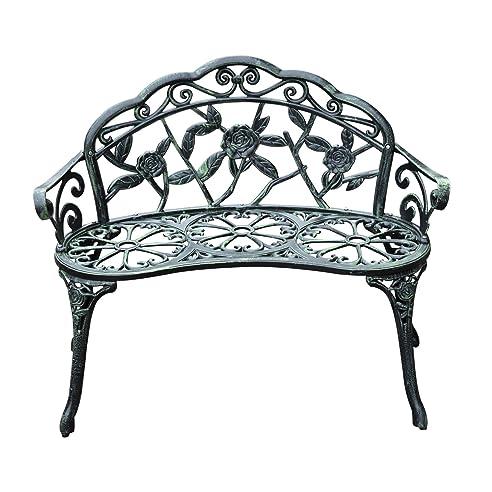Outsunny® Gartenbank Parkbank Sitzbank Bank Gartenmöbel 2 Sitzer Metall ( Modell 3)