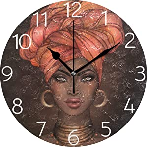 AGONA African American Pretty Girl Wall Clock, Art Wall Clocks Battery Operated Non Ticking Silent Wall Clock Decorative for Living Room Decor Kitchen Kids