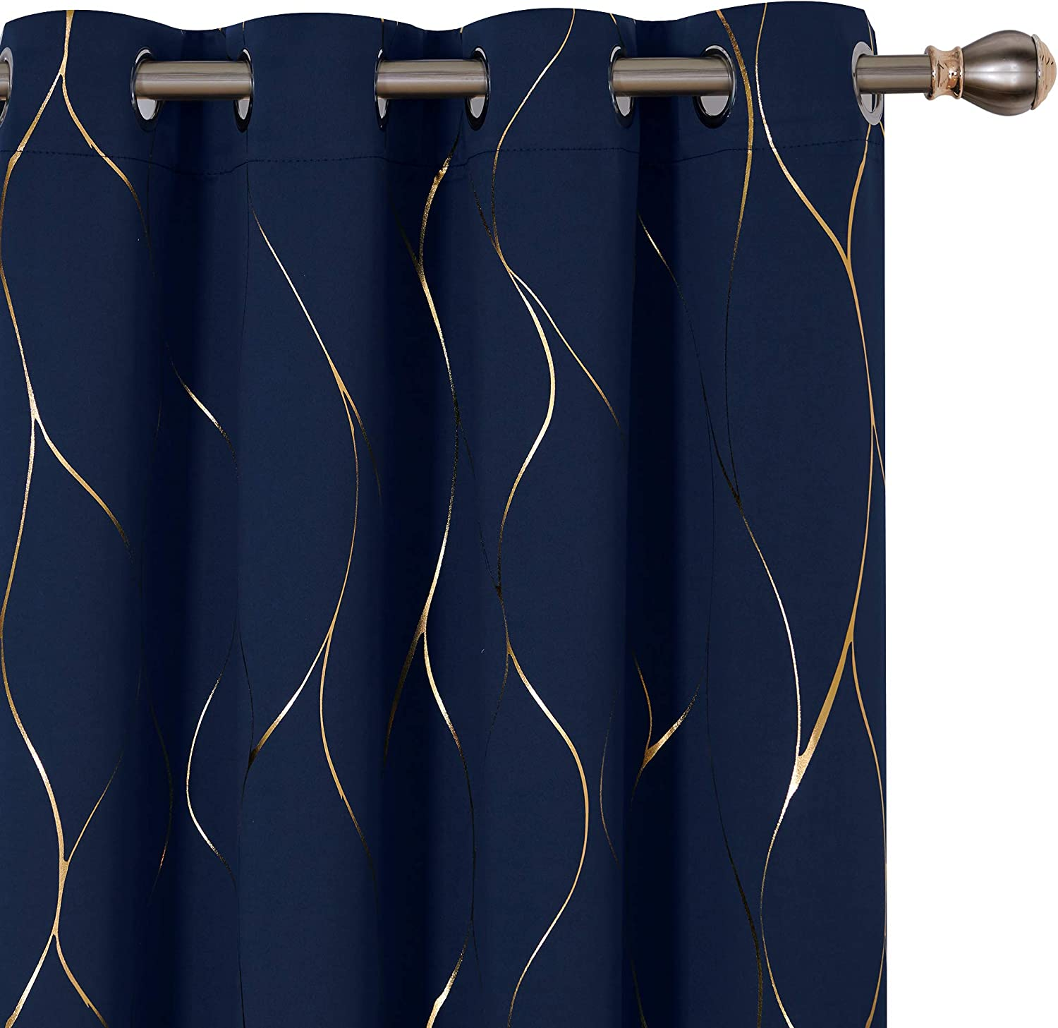 Deconovo Gold Wave Printed Blackout Curtains Thermal Insulated Grommet Panel Room Darkening Drapes for Small Window 42W x 45L Inch 2 Panels Black