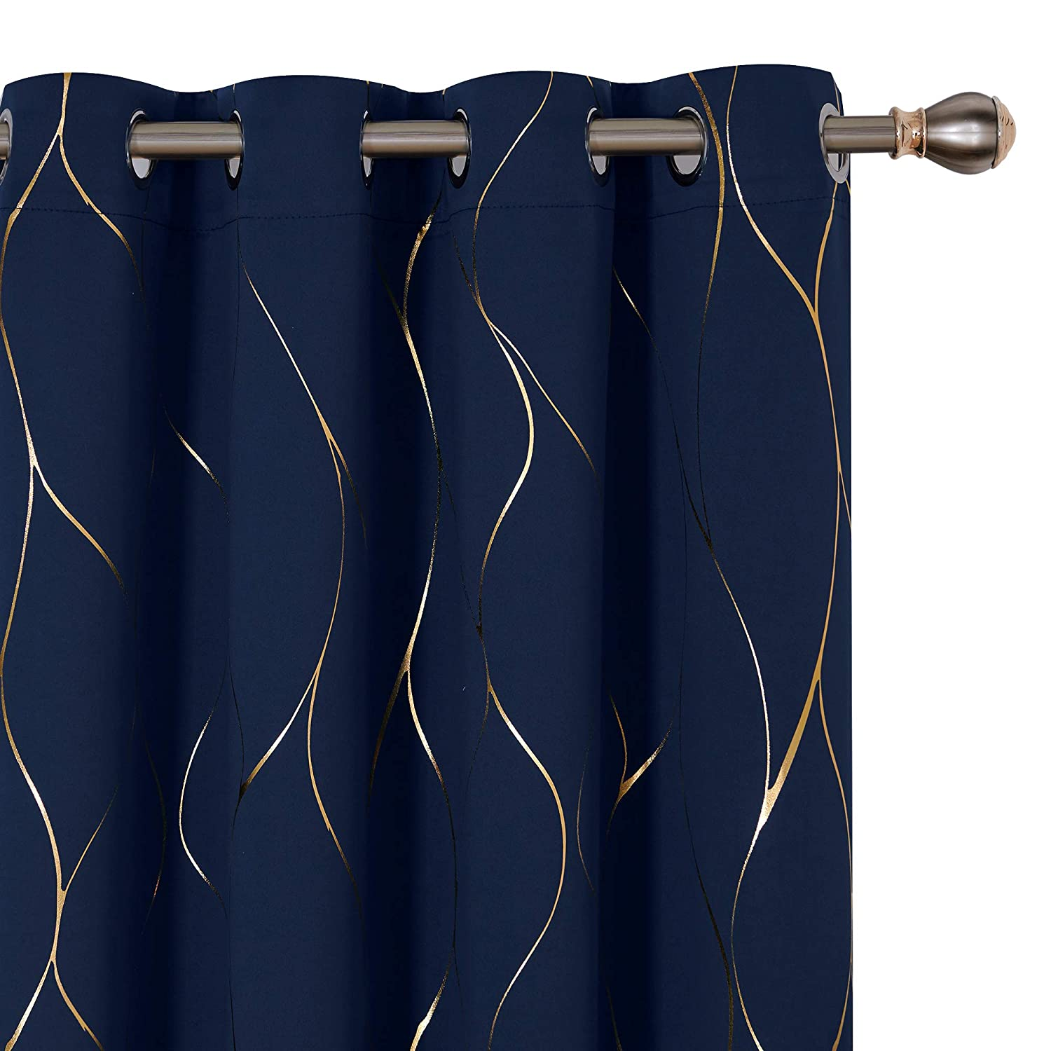 Deconovo Gold Wave Foil Print Blackout Curtains Grommet Light Blocking Room Darkening Curtain Noise Reducing Window Draperies for Living Room 52W x 84L Inch Set of 2 Panels Navy Blue