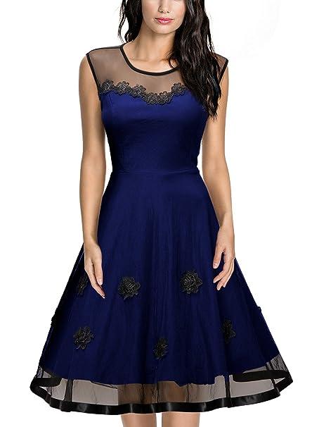 Miusol Vintage Gasa Floral Coctel Vestido Corto para Mujer Azul Medium