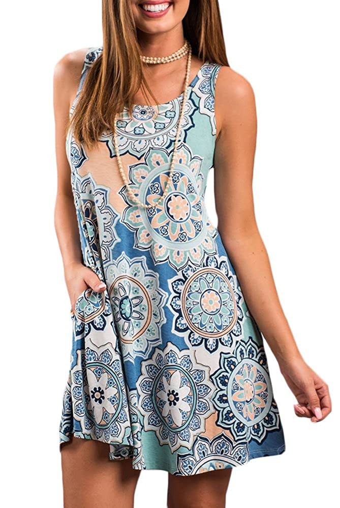 bluee Circle For G and PL Women Ethnic Printed Tank Tunic Dress