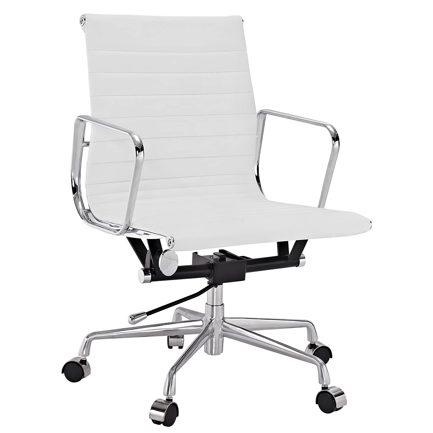 white leather office chair. Delighful Chair Amazoncom Modway Ribbed Mid Back Office Chair In White Genuine Leather  Kitchen U0026 Dining In Leather