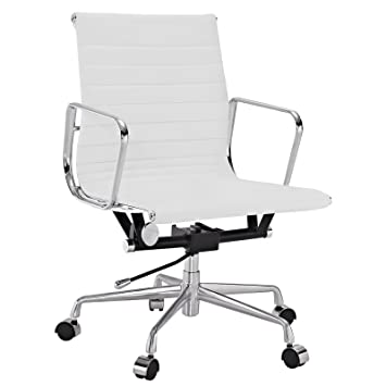 lexmod ribbed mid office. lexmod ribbed mid back office chair in white genuine leather lexmod amazonca