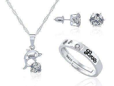 8d951aaba402 Juego de Joyas - 925 Plata esterlina Conjunto Colgante de Collar y  Pendientes y Anillo Ajustable