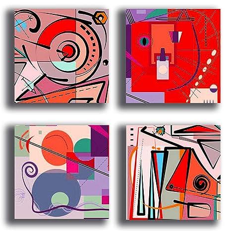 Quadri Moderni KANDINSKY rosso 4 pezzi Stampa Tela CANVAS Arredamento Arte  Astratto XXL Arredo per soggiorno salotto camera da letto cucina ufficio ...