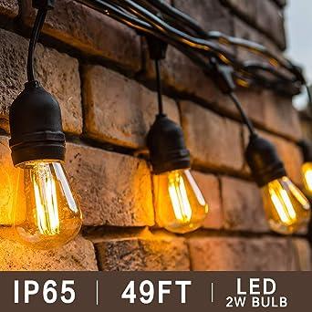 BRTLX S14 Guirnalda Exterior Luminosas,Impermeable IP65,49Ft/15M Cadena de Luz con 15 LED Bombillas Guirnalda Luces Exterior Perefcto para Jardín Patio Fiesta Cafe: Amazon.es: Iluminación