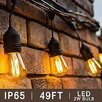 BRTLX S14 Guirnalda Exterior Luminosas,Impermeable IP65,49Ft/15M Cadena de Luz con 15 LED Bombillas Guirnalda Luces Exterior Perefcto para Jardín Patio Fiesta Cafe