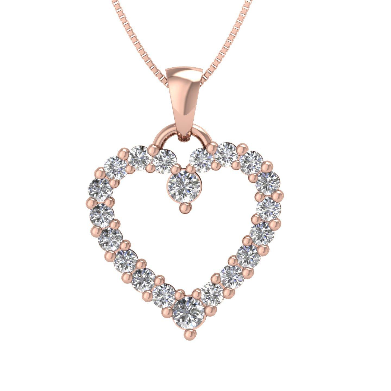 4e8f625714329 Amazon.com  10k Rose Gold Heart Diamond Pendant Necklace (1 2 Carat) - IGI  Certified  Jewelry