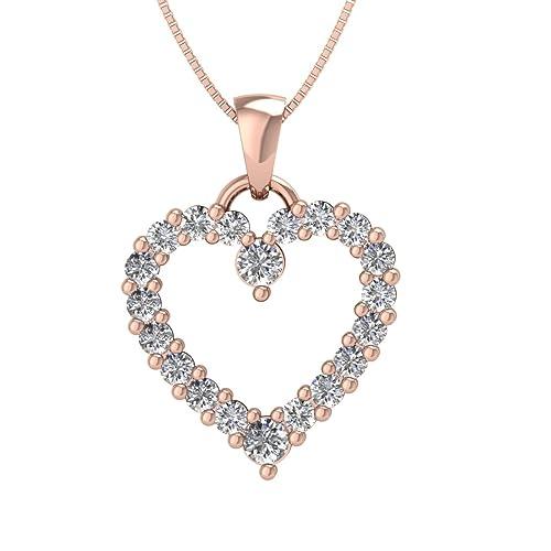 IGI Certified 10k Gold Heart Diamond Pendant Necklace 1 2 Carat