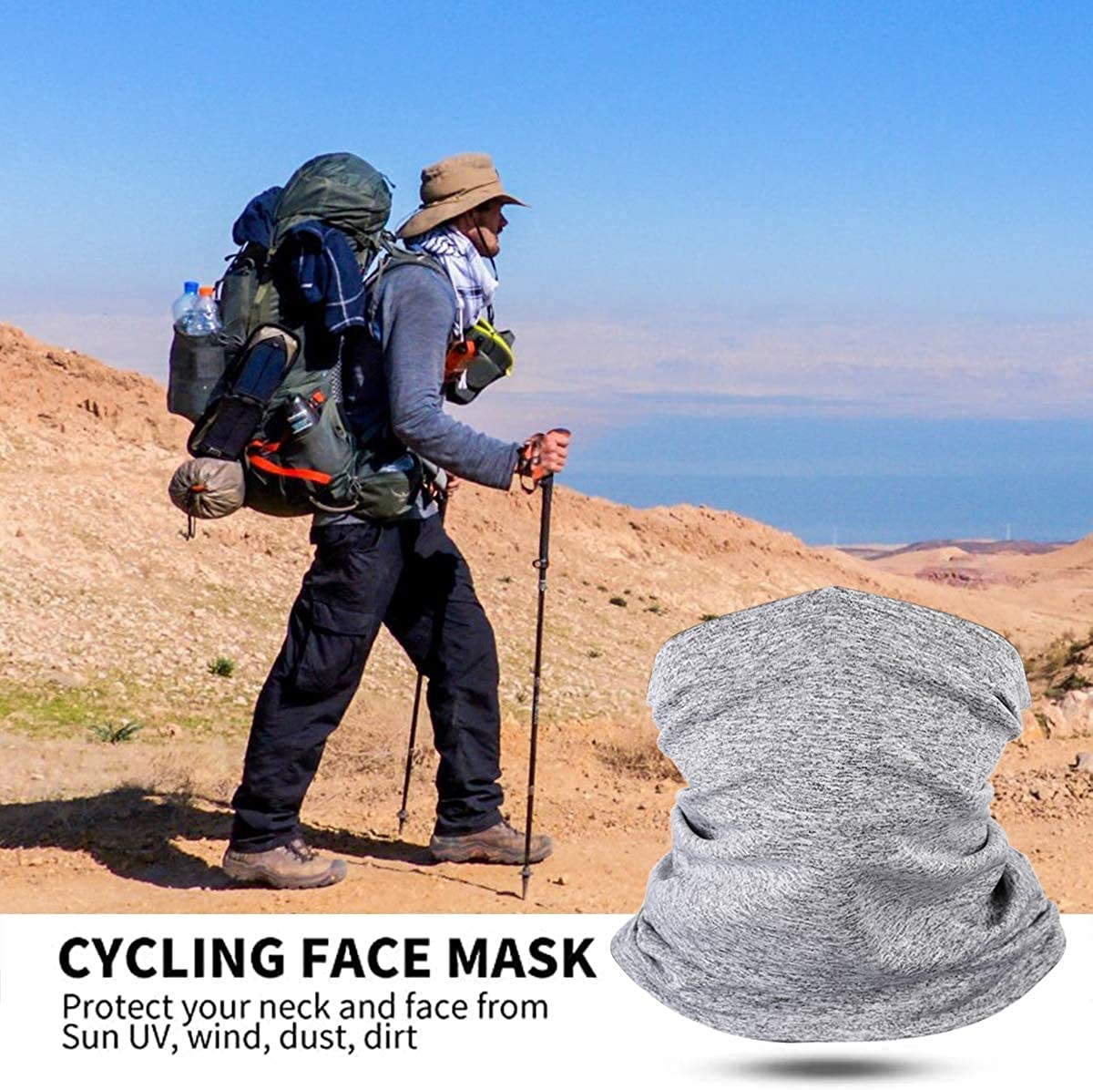 Neck Gaiter with Filters Breathable Neck Scarf for Men Multifunctional Bandanas for Sun UV//Dust Protection//Cycling//Outdoors