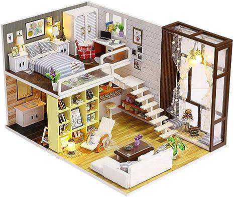 Licht mit M/öbel zeigen DIY Kit Puppenhaus Miniatur Holz Street Coner House Modell Toy /& Farbe Fotos