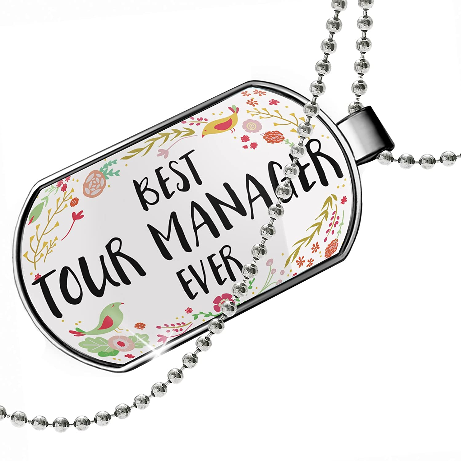 NEONBLOND Personalized Name Engraved Happy Floral Border Tour Manager Dogtag Necklace