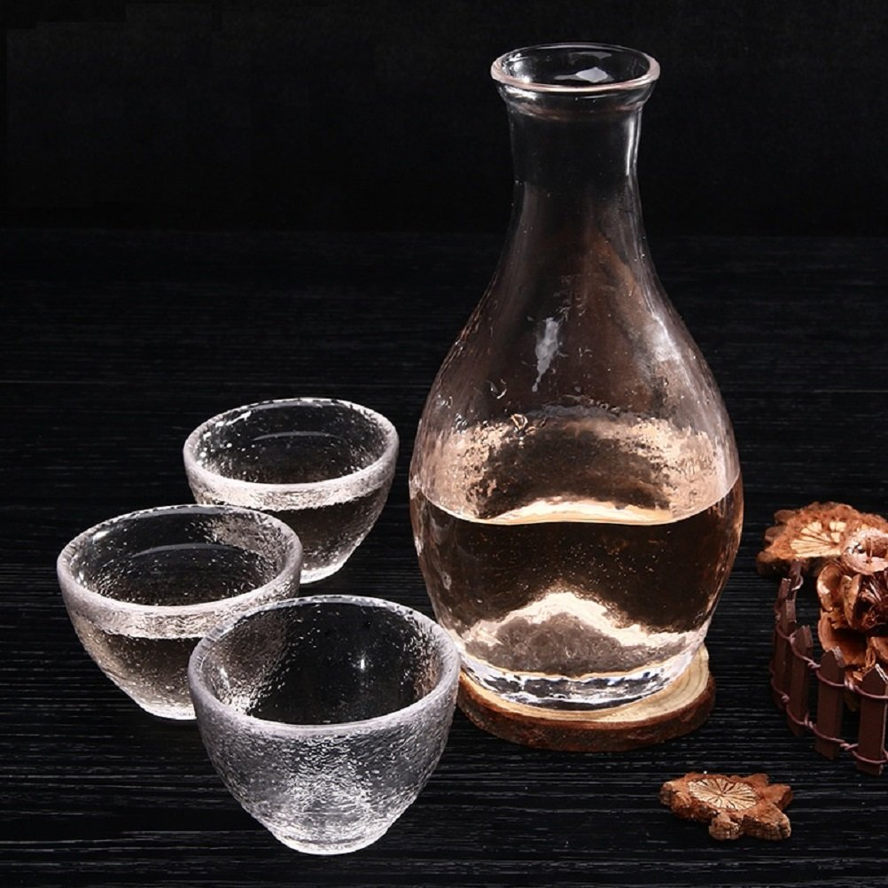 Glass Sake Bottle Set Wine Glass Sake Set Made of Glass 4 Pcs (Set of a Bottle and Three Cups) Misso Electronic
