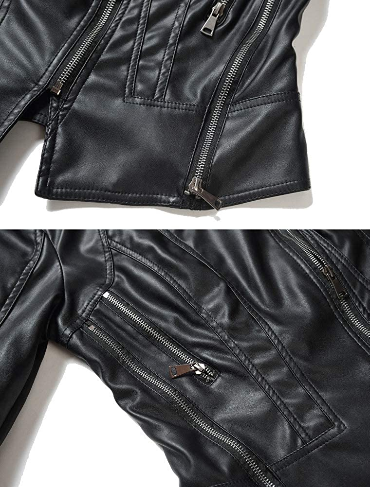 Mallimoda Donna Giacca di Pelle Corta Slim Giubbotto Biker Moto Cappotto Maniche Lunghe Giacche Stile 3 Nero