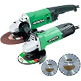 "Hitachi 4.5"" + 9"" Angle Grinders Twin Pack 110V G12ST + G23ST + Diamond Blades"