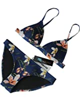 MUXILOVE Bright Mesh Wet Suit Neoprene Bikini Swimsuit Triangle Top Swimsuit(FBA)