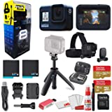 GoPro HERO8 Black Action Camera - Starter Bundle + GoPro Shorty + GoPro Head Strap + Sandisk 32GB & 16GB SD Cards + 2 Batteri