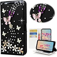 Huawei Mate 9 Wallet Case,Spritech [Card Slot] Design Floral 3D Handmade Bling Crystal Diamonds Butterfly with Card Slots Flip Stand PU Leather Wallet Case for Huawei Mate 9 2016
